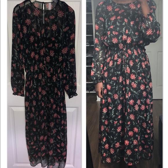 71ddd8edf1f Zara black floral dress. M 5b63d5a11b16dbf3406b6358